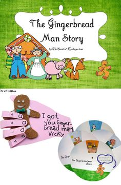 The gingerbread man story for children in pre-k, kindergarten and first grade with worksheets, activities and crafts! $