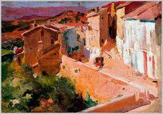 Cecilio Pla y Gallardo Spanish Painter Landscape of the Village Manzanera, 1910 Spanish Painters, Spanish Artists, Impressionist Artists, Figure Painting, Contemporary Artists, Art History, Fine Art, Landscape, Portrait