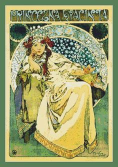 Hyacinta by Alphonse Mucha Cross Stitch Pattern in PDF for Instant Download by InstantCrossStitch on Etsy https://www.etsy.com/listing/223886164/hyacinta-by-alphonse-mucha-cross-stitch