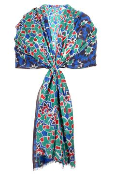 £79.00 Abstract Mosaic Stole from Brora. Ship worldwide with Borderlinx.com