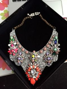 Authentic-Shourouk-Multi-Crystal-Statement-Necklace