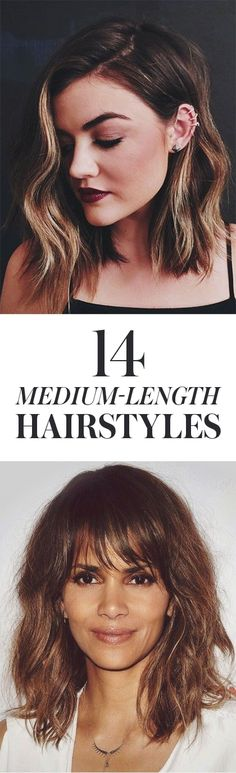 14 Pretty Styles to Try If You Have Medium-Length Hair: Midlength, shoulder-length hair has a sense of ease and flexibility, which is probably why so many women have it. Here, our favorite medium-length looks of the moment, including Lucy Hale's long bob haircut. | allure.com