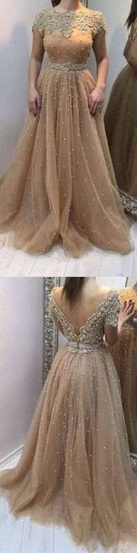 Champagne tulle lace long prom dress, evening dress, Long Prom Dresses - Sweetheart Girl Store Dresses
