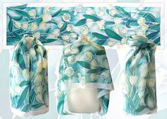Hand painted silk scarf White Tulips blue scarf mint by MinkuLUL