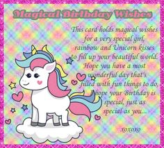 Special unicorn wishes for a very special girl. Free online Unicorn Magical Birthday Wishes ecards on Birthday Happy Birthday Penguin, Birthday Hug, Cute Happy Birthday, Birthday Wishes Funny, Birthday Songs, It's Your Birthday, Birthday Sparklers, Unicorn Cards, E Greetings