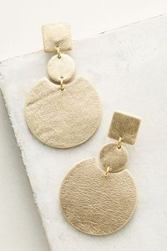 Gold leather earrings > Anthropologie