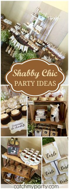 This lovely shabby chic baptism party has lots of beautiful ideas! See more party ideas at Catchmyparty.com!
