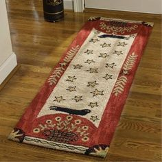 Folk Crow Hooked Rug Runner features art by Teresa Kogut. Handcrafted, hooked polyester yarn. Machine wash cold, lay flat to dry. A beautiful rug to complement your country, primitive, or farmhouse decor.