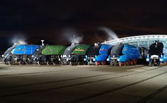 All of the remaining LNER Pacifics together in 2013 for anniversary of the world speed record being set by 4468 Mallard(Far Right) on July Steam Trains Uk, Uk Rail, Train Posters, National Railway Museum, British Rail, Mallard, Steam Engine, Great British, Steam Locomotive