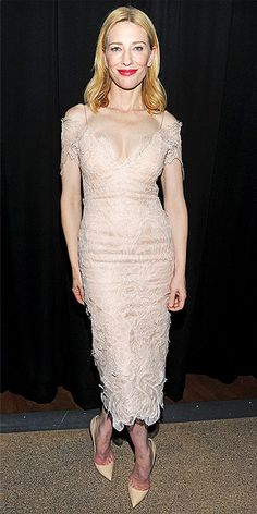 CATE BLANCHETT At first glance, it might appear Cate's wearing nothing but lipstick, but we have confirmation that she's in a nude lace dress with matching pumps at a gala in her honor during the New York Film Festival.