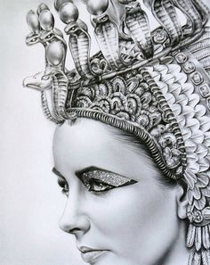 """This is drawn with PENCIL! """"I am The Nile"""" Elizabeth Taylor by Ileana Hunter"""