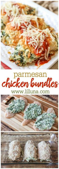 Parmesan Chicken Bundles - a delicious chicken dinner recipe stuffed with cheese and spinach and coated in cracker crumbs, pasta sauce and Mozzarella cheese.