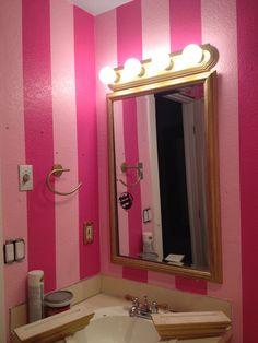 Victoria's Secret bathroom striped walls girl bathroom pink walls