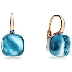Pomellato Large Nudo Blue Topaz Rose Gold Earrings ($4,270) ❤ liked on Polyvore featuring jewelry, earrings, rose gold jewelry, sparkly earrings, earrings jewelry, pink gold earrings and rose gold jewellery