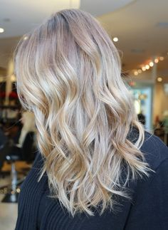 love the way these highlights blend together. lovely winter blonde coloring.