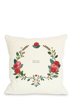 """Love is Old Love is New Pillow with Zipper - 18"""" x 18"""""""