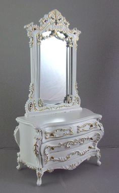 Dolls House Fine Miniature Bedroom Furniture White Gold Bourbon Dressing Table