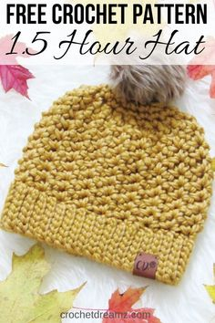 Hour Chunky Hat, Free Crochet Pattern Learn how to crochet a quick chunky beanie using this free crochet pattern. It includes 4 sizes from Toddler to Adult and is super easy to make. Chunky Crochet Hat, Crochet Beanie Pattern, Knitted Hats, Crochet Patterns, Double Crochet, Free Chunky Knitting Patterns, Crochet Baby, Free Crochet, Womens Crochet Hats