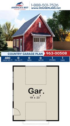 Plan 963-00508 details a Country garage design with 480 sq. ft. of space for 1 car. #country #garage #garageplans #architecture #houseplans #housedesign #homedesign #homedesigns #architecturalplans #newconstruction #floorplans #dreamhome #dreamhouseplans #abhouseplans #besthouseplans #newhome #newhouse #homesweethome #buildingahome #buildahome #residentialplans #residentialhome