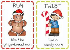 Print out these Christmas action cards, use for Kindergarten class party.or rainy day activity without christmas theme. Holiday Activities, Preschool Activities, Party Activities, Advent Activities, Movement Activities, Party Games, Primary Singing Time, Primary Music, Lds Primary