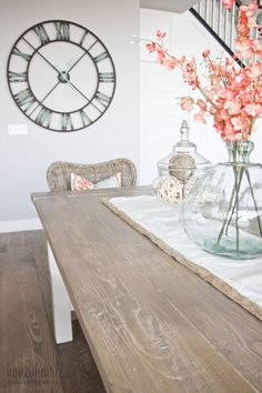I first built an awesome farmhouse table for less than $100 and it seats 8-10 people. Then I did my own DIY weathered wood finish! #farmhousetyle #woodproject #diydecor