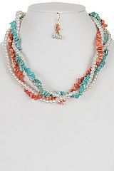 Gorgeous Twined Multi Color Stone and Pearl Necklace Set