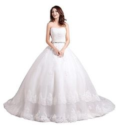 ORIENT BRIDE Women's Strapless Wedding Dresses Lace Bridal Gowns
