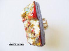 HandCarved Avant garde Everlasting Original Oak Wood Bark Ring EcoFriendly Blue Red YellowPainted Bar Ring Modern Adjustable Ring Jewelry