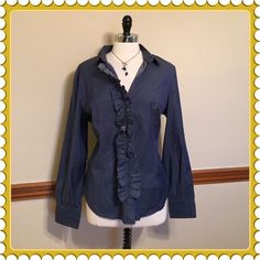 Navy chambray Ruffled button down stretch top Cotton, spandex. Great for casual or career. Size XL. NWT $39.95 New York & Company Tops Button Down Shirts