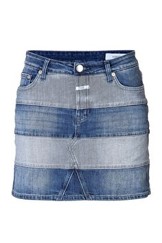A cool mix of light and dark denim stripes updates this classic jean skirt from Closed.