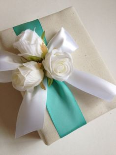 Robin's Egg Blue Wedding Photo Album - White Roses and Ribbon Bow