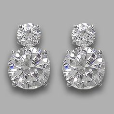 Lindsay Round Cubic Zirconia Drop Earrings... Our Lindsay drop earrings are just the right size with a 0.5 carat each round top and a 2.5 carat round bottom drop. Lindsay measures just over 1/2 inch (14.0mm) from top to bottom. Approximately 5.0 carats total weight, available in 14K white or 14K yellow gold.  Model: #5036R.5R2.5, $450.00 ... Mystiquegems.com Jewelry