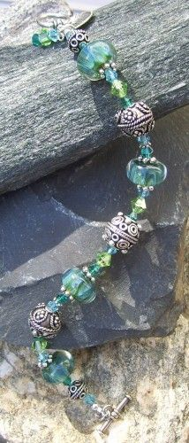 Blue Green Ocean Wave Boro Glass Bead and Swarovski Crystal Bracelet | SisterJewelry - Jewelry on ArtFire