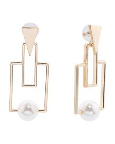 Geometric+Statement+Earring+In+Gold+Tone+With+Pearl+Accent