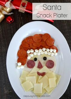 This Santa snack platter is loaded with cheese and meat! It's naturally very low in carbohydrates and will put a smile on your family's faces!