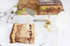 Layered coffee cake with raspberry jam, dried fruit & nuts and chocolate ganache Cake Recipes, Dessert Recipes, Desserts, Dried Fruit, Chocolate Ganache, Coffee Cake, Raspberry, French Toast, Pie