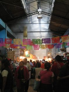 Inside market -- some of the best food ever, and live chickens, spices for cooking. Oaxaca, Mexico