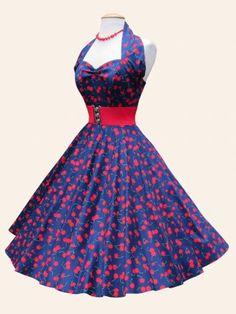 Halterneck Navy Cherry Sateen Dress - from Vivien of Holloway UK 1950s Look, Cherry Dress, Circle Dress, Cute Cupcakes, Beautiful Wife, Vintage Prints, Swing Dress, Dress Making, Pin Up