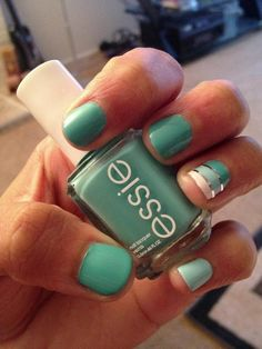 Cool nail art with Essie's Where's My Chauffeaur and Mint Candy Apple