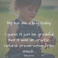 My kid ate a bug today. I guess I'll just be grateful that it was an organic, natural, preservative-free snack. Motherhood Funny, Quotes About Motherhood, Funny Memes About Life, Funny Mom Quotes, Natural Parenting, Gentle Parenting, Funny Parenting Memes, Parenting Hacks, Mommy Humor