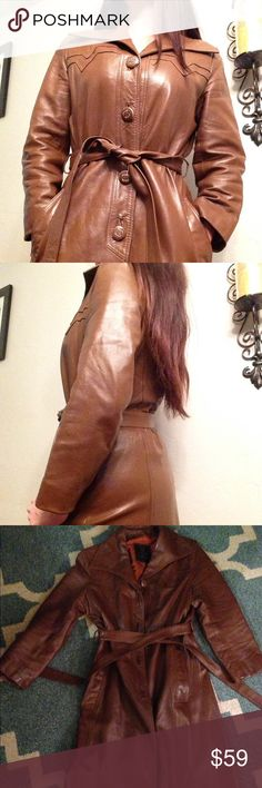 """Vintage leather coat '70's Hip Brown rustic butterfly collar  """"24k leather by Dan Di Modes"""" ➡️four buttons front closure, side pockets , wrap around belt,  sleeves about 19 inches length about 38 inches. Says size 10, fits like a medium , from the '70's Excellent Condition vintage Jackets & Coats Trench Coats"""