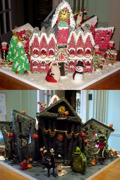 Gingerbread House Cake. Nightmare Before Christmas. Halloween Town on one side & Christmas on the other!
