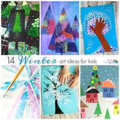14 Wonderful Winter Art Projects for Kids - an inspiring collecion of winter kid art ideas with some fun and amazing techniques for the kids to try this Winter.