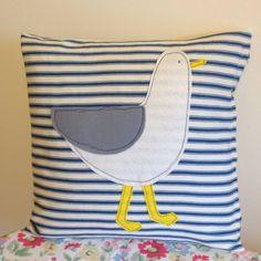 Sid Seagull Appliqued Coastal Cushion