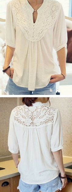 White Half Sleeve Lace Patchwork Blouse.