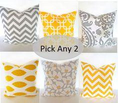 THROW PILLOWS  SET of 2 Gray Yellow 16x16 Decorative Throw Pillows 16 x 16 Throw Pillow CoversFabric front & back. $29.95, via Etsy.