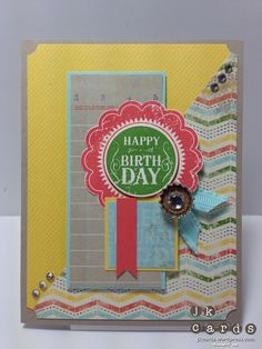 "Stampin' Up!, Mojo 289, Blue Ribbon, Netting Background, This and That Epic Day DSP, 1 3/8 Circle Punch, 1/2"" Circle Punch, 1 1/4 Square Punch, 1 3/8 Square Punch, Soda Pop Tops, Basic Jewels Rhinestones, Large Basic Rhinestones, Pool Party 3/8 Ruffled Ribbon"