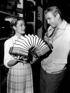 Grace Kelly and James Stewart on set of Alfred Hitchcock's Rear Window