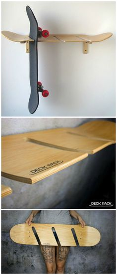 Cool wall mount for longboards or skateboards. The holder itself consists of a skateboard deck. Buy gift from deck rack via wristband Skateboard Storage, Skateboard Decor, Skateboard Furniture, Skateboard Design, Skateboard Bedroom, Upcycled Furniture, Cool Furniture, Home And Deco, Cool Walls