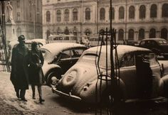 Iarna la Piața Universității, anii 40 foto:Iosif Berman